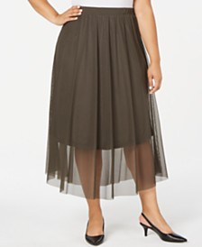 Alfani Plus Size Mesh Midi Skirt, Created for Macy's