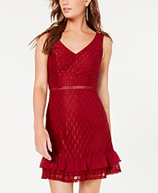 Juniors' Lace Flounce Dress