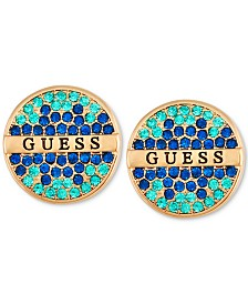 GUESS Gold-Tone Pavé & Logo Button Earrings