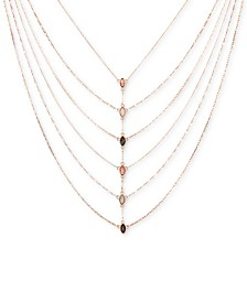 """GUESS Rose Gold-Tone Multicolor Crystal Layered Statement Necklace, 18"""" + 2"""" extender"""