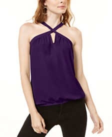 I.N.C. Woven Keyhole Halter Top, Created for Macy's