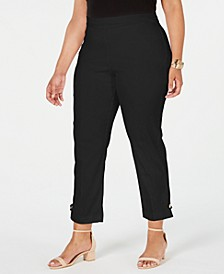 Plus Size Button-Hem Pull-On Pants, Created for Macy's