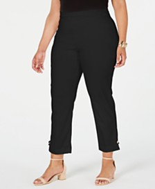 JM Collection Plus Size Button-Hem Pull-On Pants, Created for Macy's