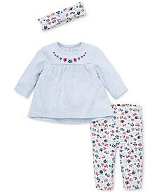 Little Me Baby Girls 3-Pc. Floral-Print Tunic, Headband & Leggings Cotton Set
