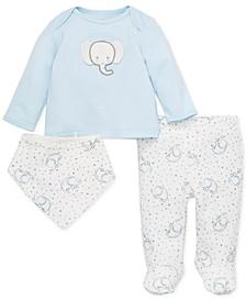 Baby Boys 3-Pc. Cotton Elephant Top, Footed Pants & Bib Set