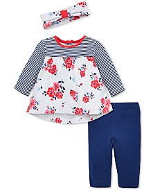 Little Me Baby Girls 3-Pc. Headband, Tunic & Leggings Cotton Set