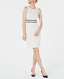 Petite Contrast-Trim Sheath Dress