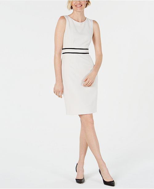 Kasper Petite Contrast-Trim Sheath Dress