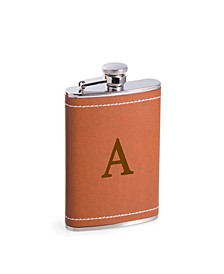 6 Oz. Stainless Steel Saddle Brown Leather Flask