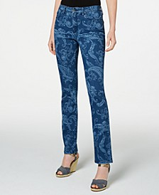 Petite Printed Lexington Straight-Leg Jeans, Created for Macy's