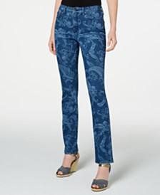 Charter Club Petite Printed Lexington Straight-Leg Jeans, Created for Macy's