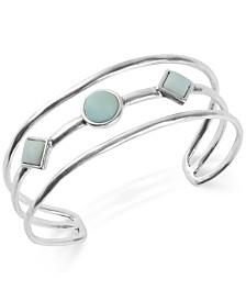 Lucky Brand Silver-Tone Stone Triple-Row Cuff Bracelet