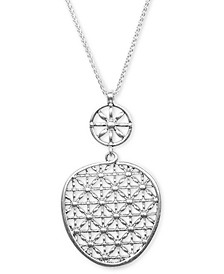 "Silver-Tone Basketweave Openwork 33-1/2"" Pendant Necklace"