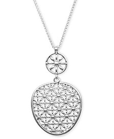 "Lucky Brand Silver-Tone Basketweave Openwork 33-1/2"" Pendant Necklace"