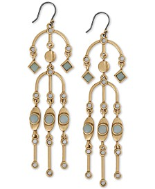 Lucky Brand Gold-Tone Stone Chandelier Earrings