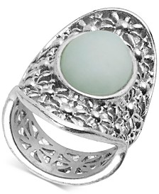 Lucky Brand Silver-Tone Stone Openwork Statement Ring