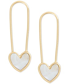 Gold-Tone Imitation Mother-of-Pearl Heart Safety Pin Drop Earrings
