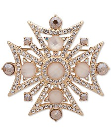 Anne Klein Gold-Tone Crystal & Stone Celtic Cross Pin, Created for Macy's