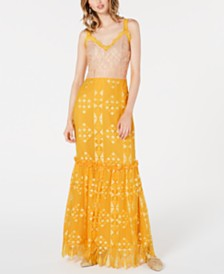 foxiedox Two-Tone Crochet Maxi Gown