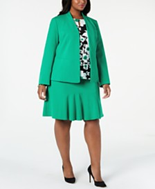 Nine West Plus Size Blazer, Sleeveless Top & Ruffle-Hem Skirt