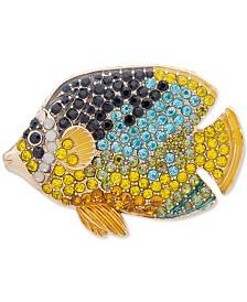 Anne Klein Gold-Tone Multicolor Pavé Fish Pin