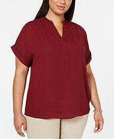 Plus Size Split-Neck Top, Created for Macy's