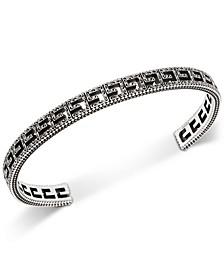 Logo Cubed G Motif Logo Cuff Bracelet in Sterling Silver