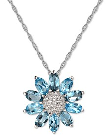 """Multi-Gemstone (3 ct. t.w.) 18"""" Pendant Necklace in Sterling Silver"""