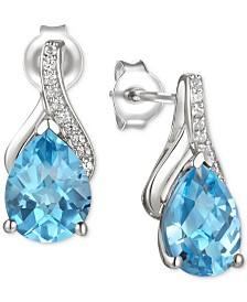 Blue Topaz (2-1/2 ct. t.w.) & Diamond (1/20 ct. t.w.) Drop Earring in 14k White Gold