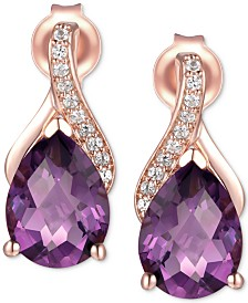 Amethyst (2-1/10 ct. t.w.) & Diamond (1/20 ct. t.w.) Drop Earring in 14k Rose Gold