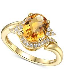 Citrine (1-5/8 ct. t.w.) & Diamond (1/5 ct. t.w.) in 14k Gold