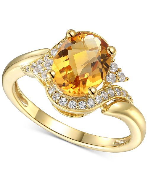 Macy's Citrine (1-5/8 ct. t.w.) & Diamond (1/5 ct. t.w.) in 14k Gold
