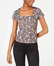 Juniors' Square-Neck Top