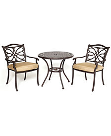"""CLOSEOUT! Kingsley Outdoor Cast Aluminum 3-Pc. Dining Set (32"""" Round Cafe Table and 2 Dining Chairs), Created for Macy's"""