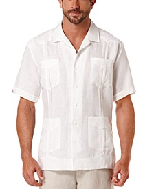 Short-Sleeve 4-Pocket 100% Linen Guayabera Shirt