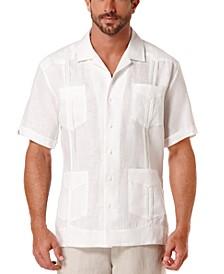 Men's Big & Tall Short-Sleeve 4-Pocket 100% Linen Guayabera Shirt