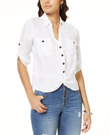 I.N.C. Linen Twisted Utility Shirt, Created for Macy's