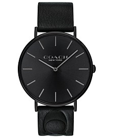 Men's Charles Black Leather Strap Watch 41mm, Created for Macy's