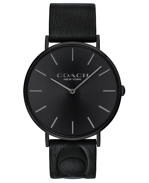 COACH Men's Charles Black Leather Strap Watch 41mm, Created for Macy's