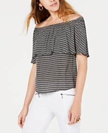 Bar III Off-The-Shoulder Striped Top, Created for Macy's