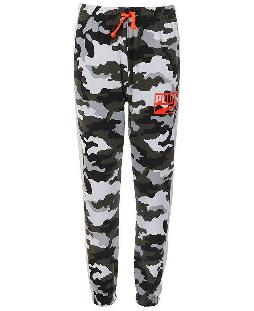 Puma Big Boys Rebel Pack Camo-Print Fleece Jogger Pants