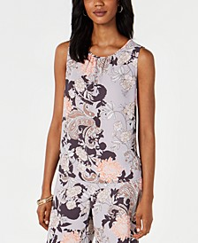 Floral-Print Gathered-Neck Top