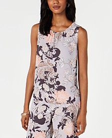 Nine West Floral-Print Gathered-Neck Top