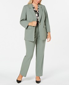 Nine West Plus Size One-Button Blazer, Floral-Print Top & Straight-Leg Pants