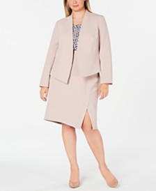 Nine West Plus Size Jacket, Printed Top & Asymmetrical Skirt