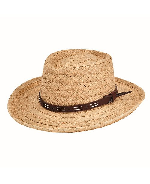 San Diego Hat Company San Diego Hat Men's Raffia Gambler with Faux Leather Band