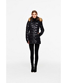 Chelsea Faux-Fur-Trim Hooded Puffer Coat