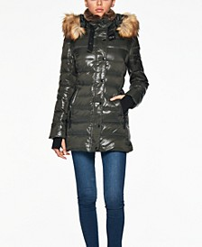 Chelsea High-Shine Faux-Fur-Trim Hooded Down Puffer Coat