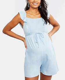 Motherhood Maternity Ruffled Chambray Romper