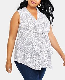 Plus Size Tie-Front Shirt